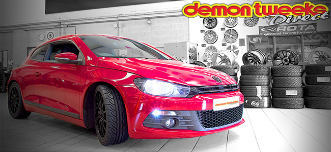 VW Scirocco Red Headlights On