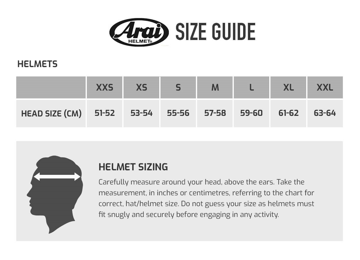 Find the right size Arai helmet for you with our Arai size guide | Demon  Tweeks Blog