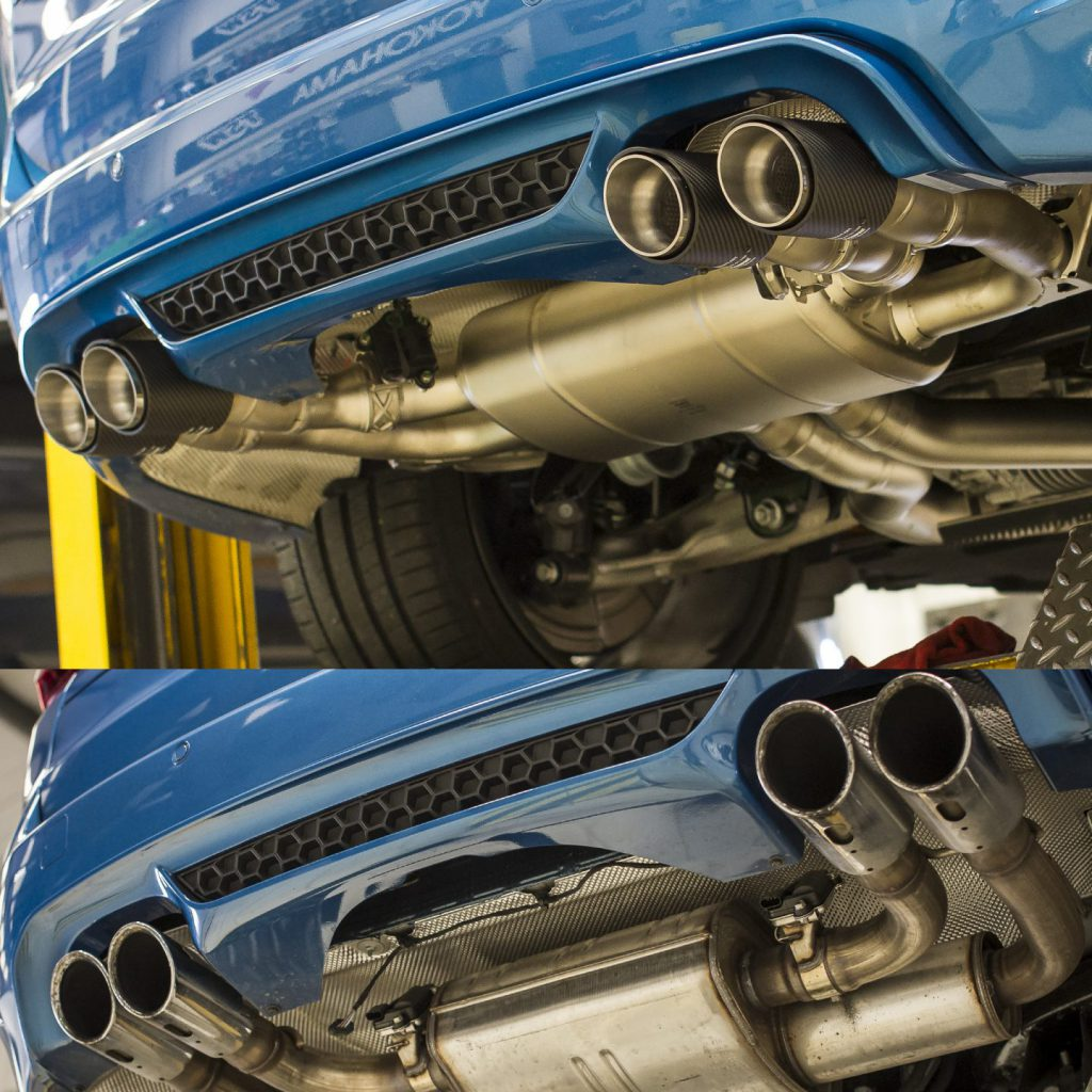 before and after shot of an akraprovic exhaust