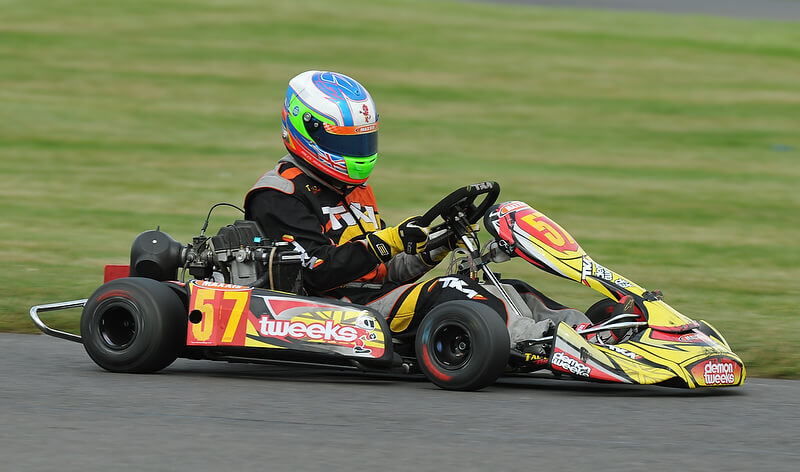 Miles Murphy driving a Go Kart