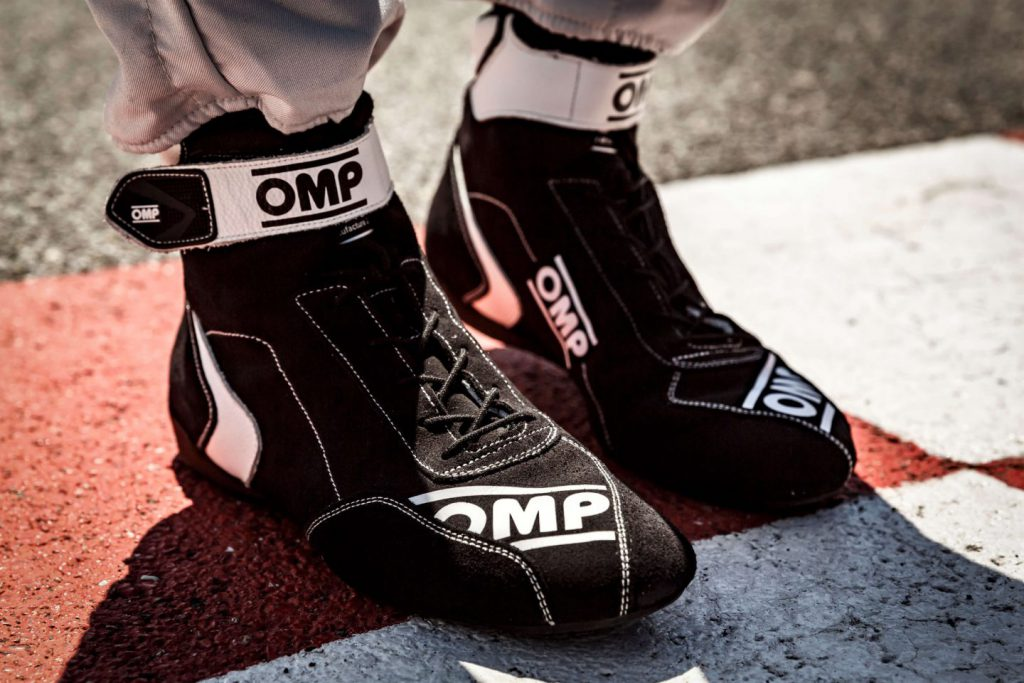 close up of omp racing boots