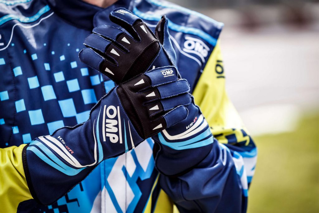 close up of karting race gloves