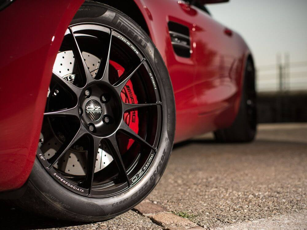 Mercedes amg close up with OZ alloys