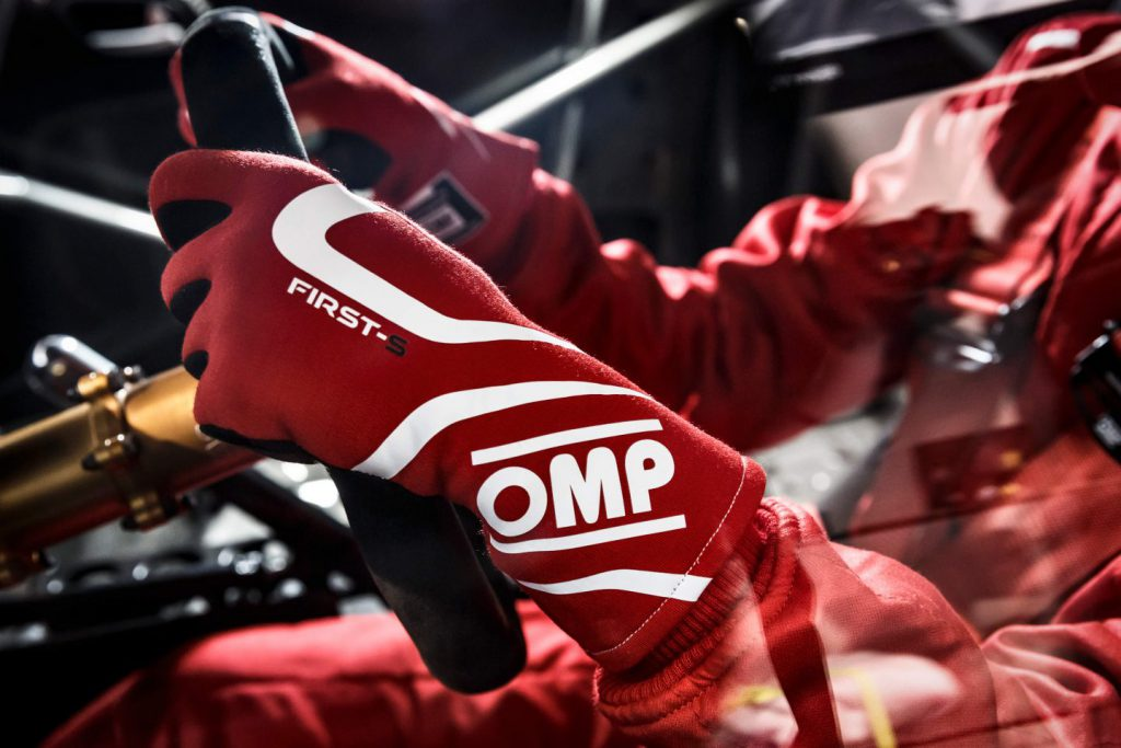 close up of omp racing gloves