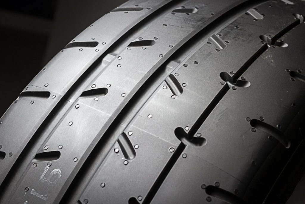 close up of tyre tread