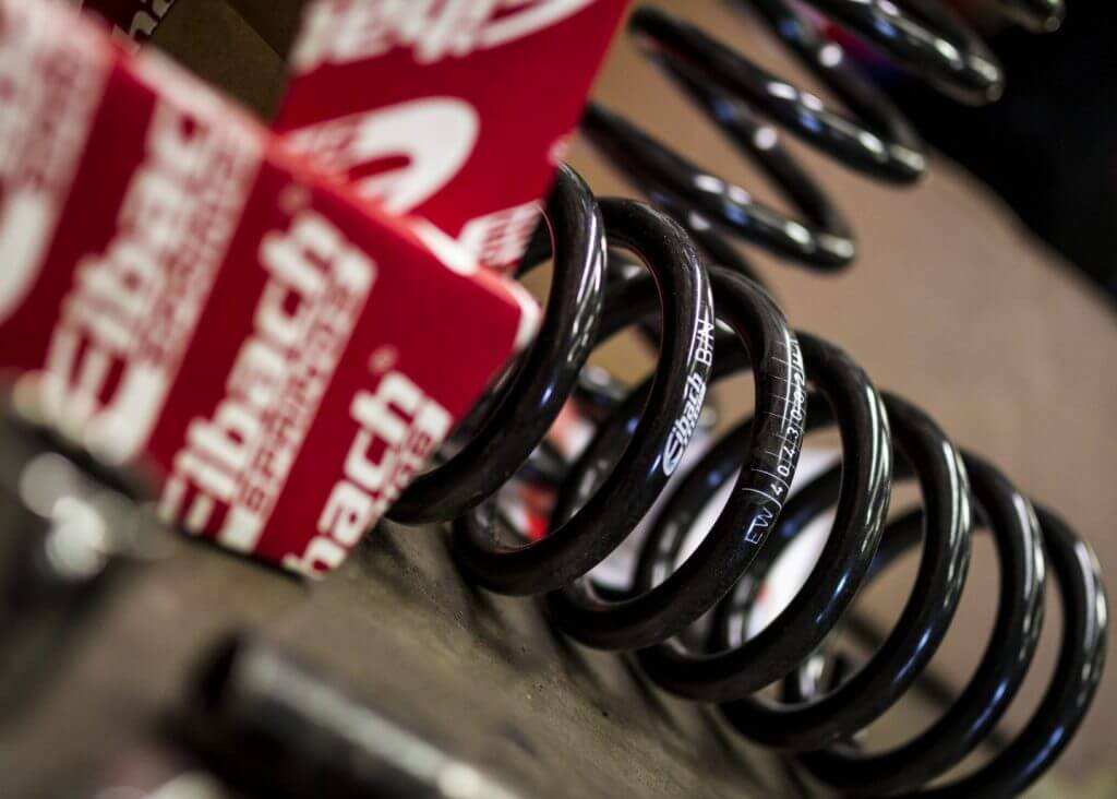 close up of eibach lowering springs