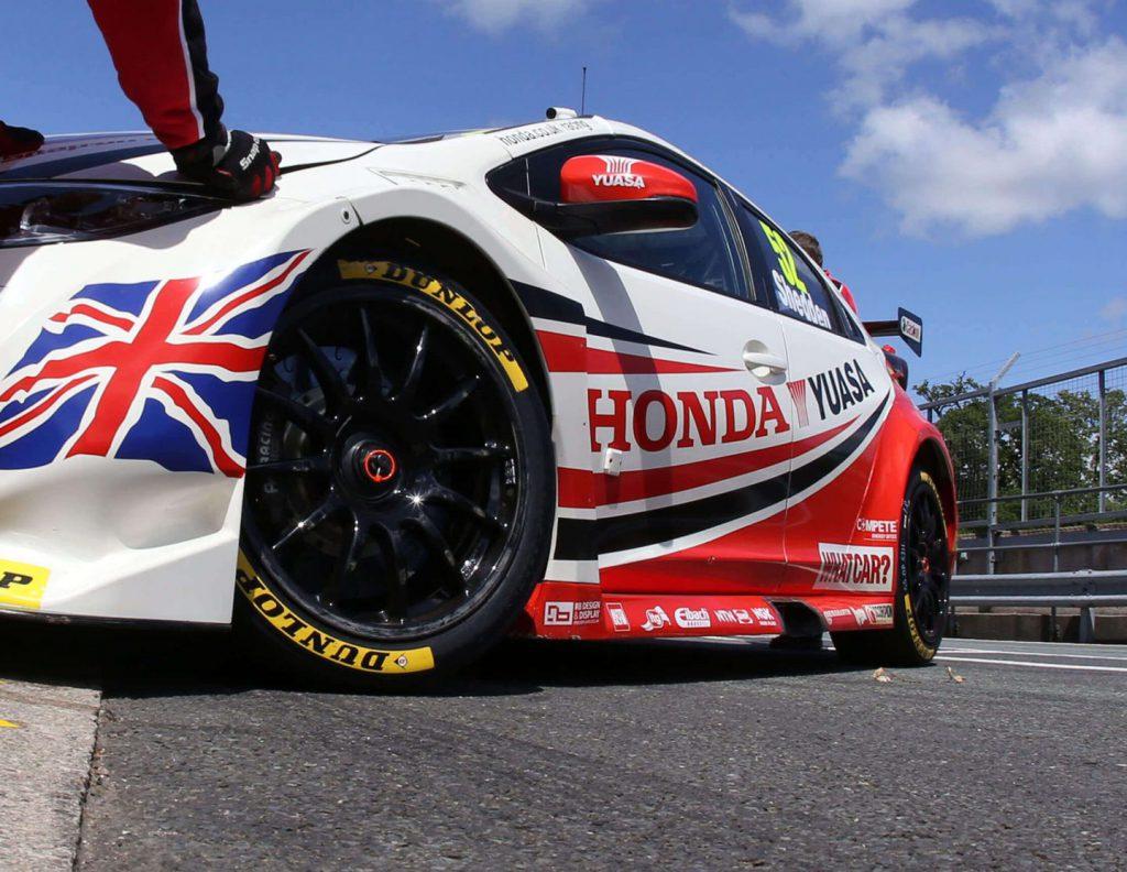 a BTCC Honda Civic with team dynamics alloys