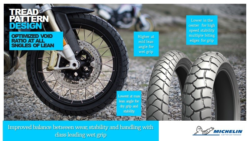 Michelin Anakee Adventure trail tyre tread pattern and lean